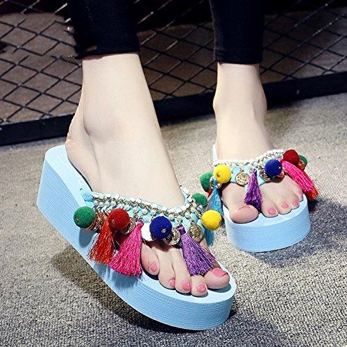 color Negro Sandals La Alto Femeninas cn36 Duo Manera 5 Eu36 Verano 5cm Tamaño blanco Azul Chanclas Rosa color negro Del Tacón De azul Elegante Sandalias amarillento uk4 Eq1wRz