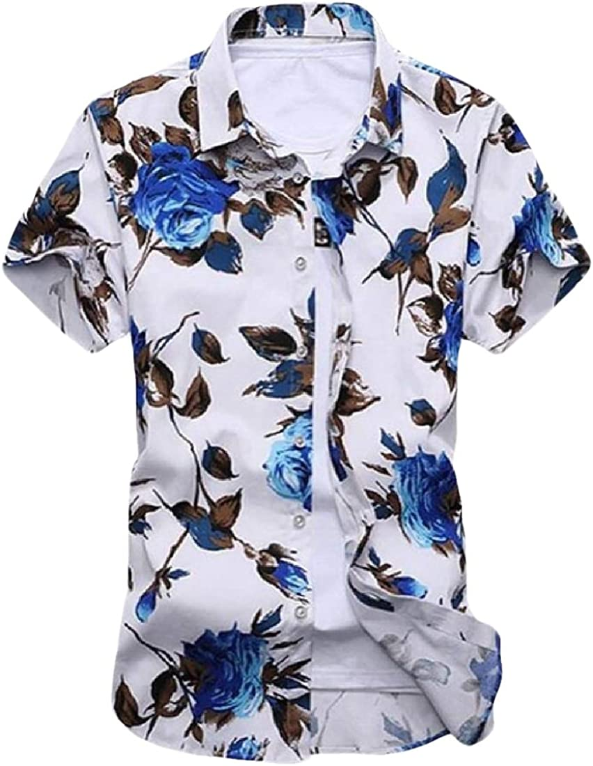 HANA+DORA Men Loose Tops Blouses Floral Printed Short Sleeve Button Down Shirts