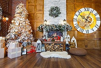 baocicco 7x5ft christmas decorations luxury room interior backdrop vinyl photography backgroud pine wreath christmas trees clock