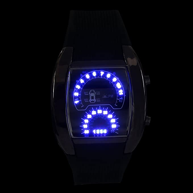 Amazon.com: Kinue Brand Blue Flash Led Watch RPM Turbo Car Meter Dial Men Sport Watches: Home & Kitchen