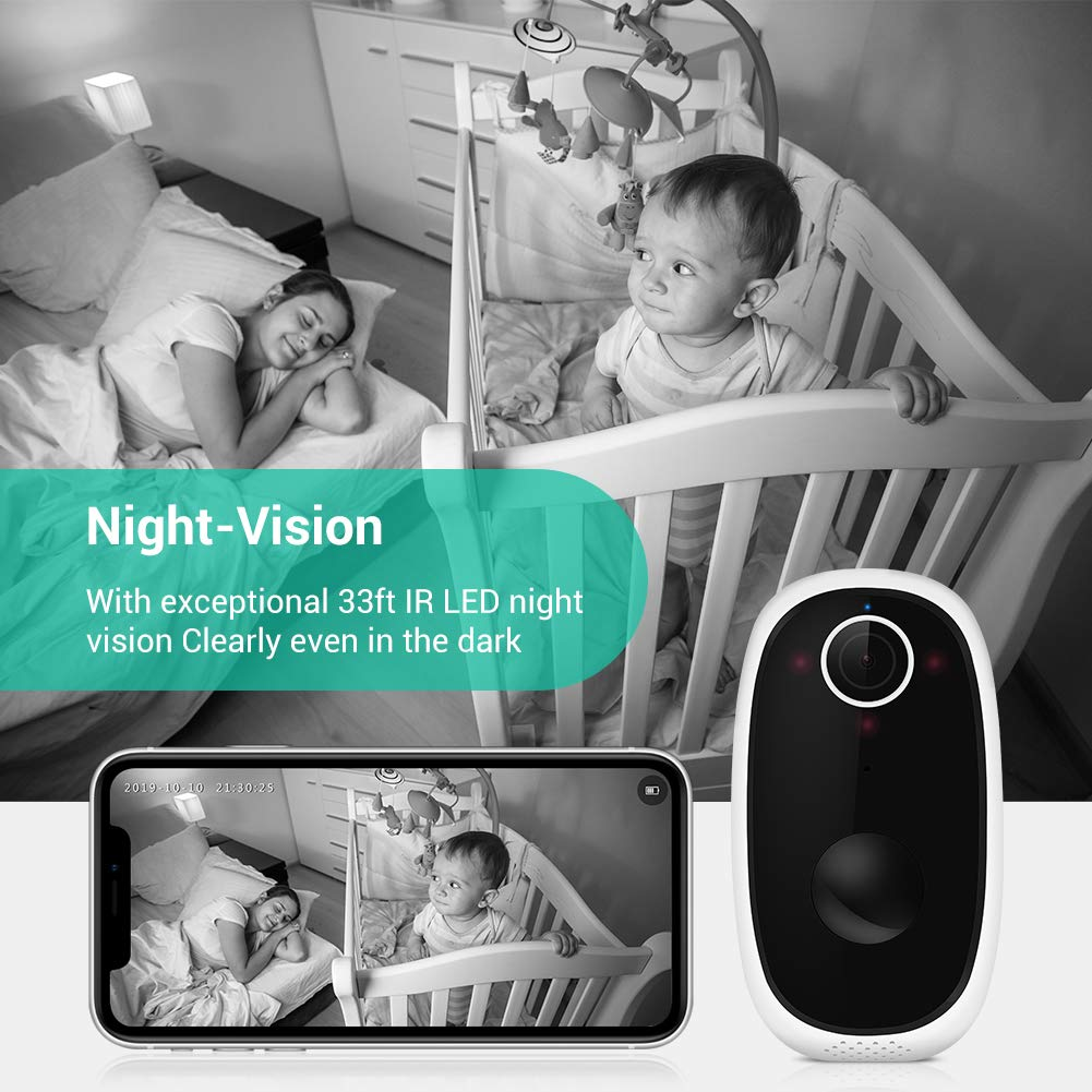 Wireless Rechargeable Battery Powered WiFi Camera, Enow-YL Waterproof Outdoor Home Security Camera 1080P Video Night Vision with PIR Motion Sensor 2 Way Audio (Upgraded 32GB Card Pre-Installed)