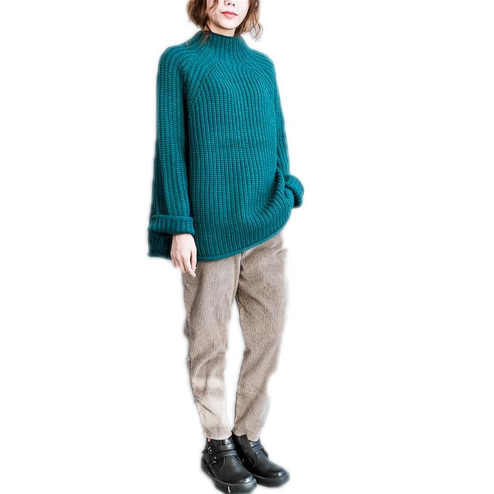 Nuan Jia Feng El nuevo otoño y el invierno suéter literarios sencillos, la mitad de la manga del suéter de cuello alto de grasa suelta línea gruesa de punto , blue , average
