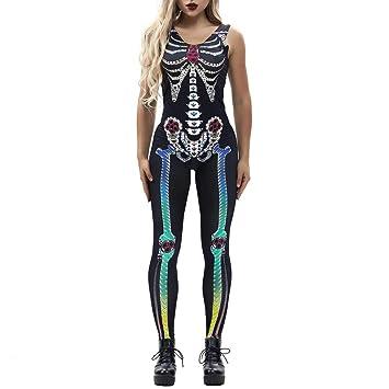 Longay 2018 - Mono de Esqueleto para Mujer, diseño de Calavera, Color Negro: Amazon.es: Hogar