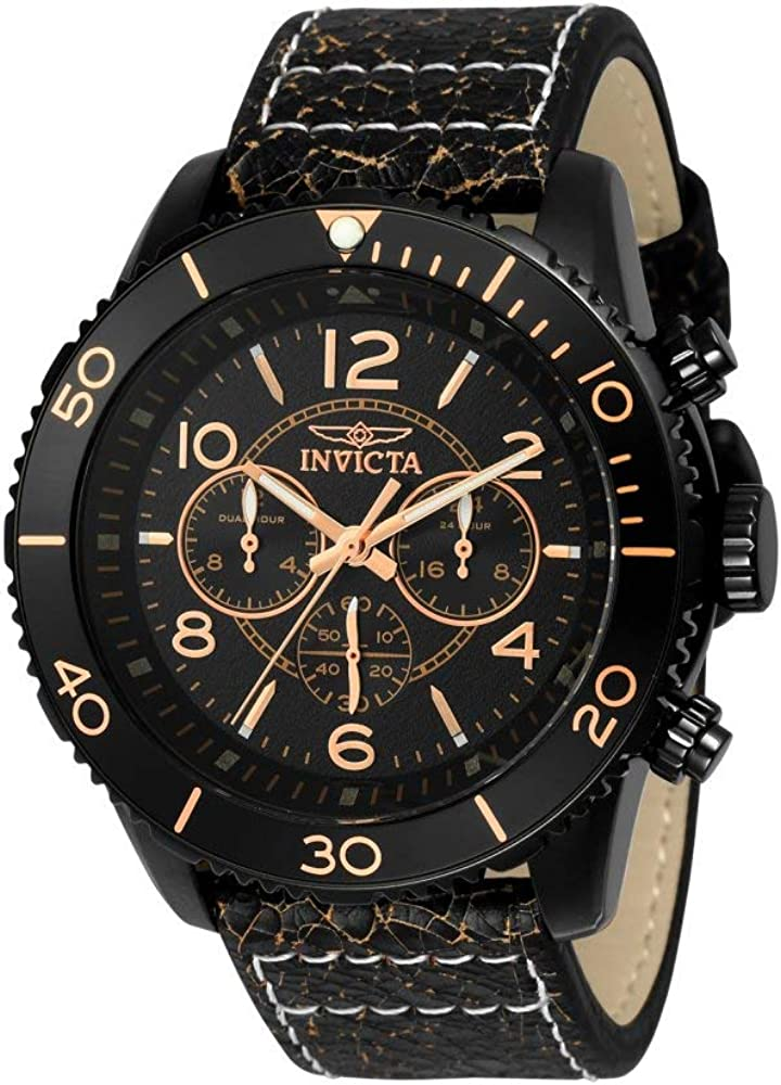 Invicta Men s Aviator Stainless Steel Quartz Watch with Leather Calfskin Strap, Brown, 29 Model 24554