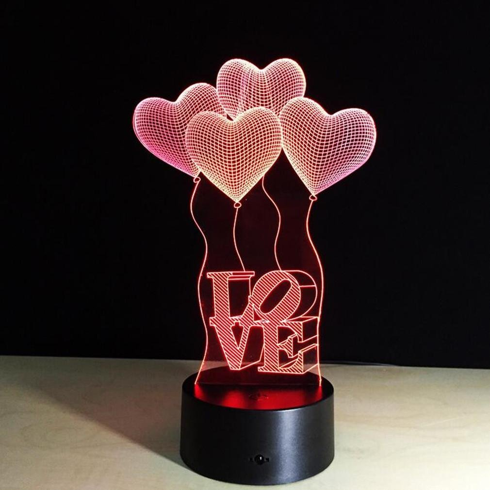 Caryy 3d LED Illusionランプ、7色変更リモート制御ビジュアルライト、光学Confessionナイトライト、装飾雰囲気テーブルランプ、子供クリスマスギフト B074FXWH8Q