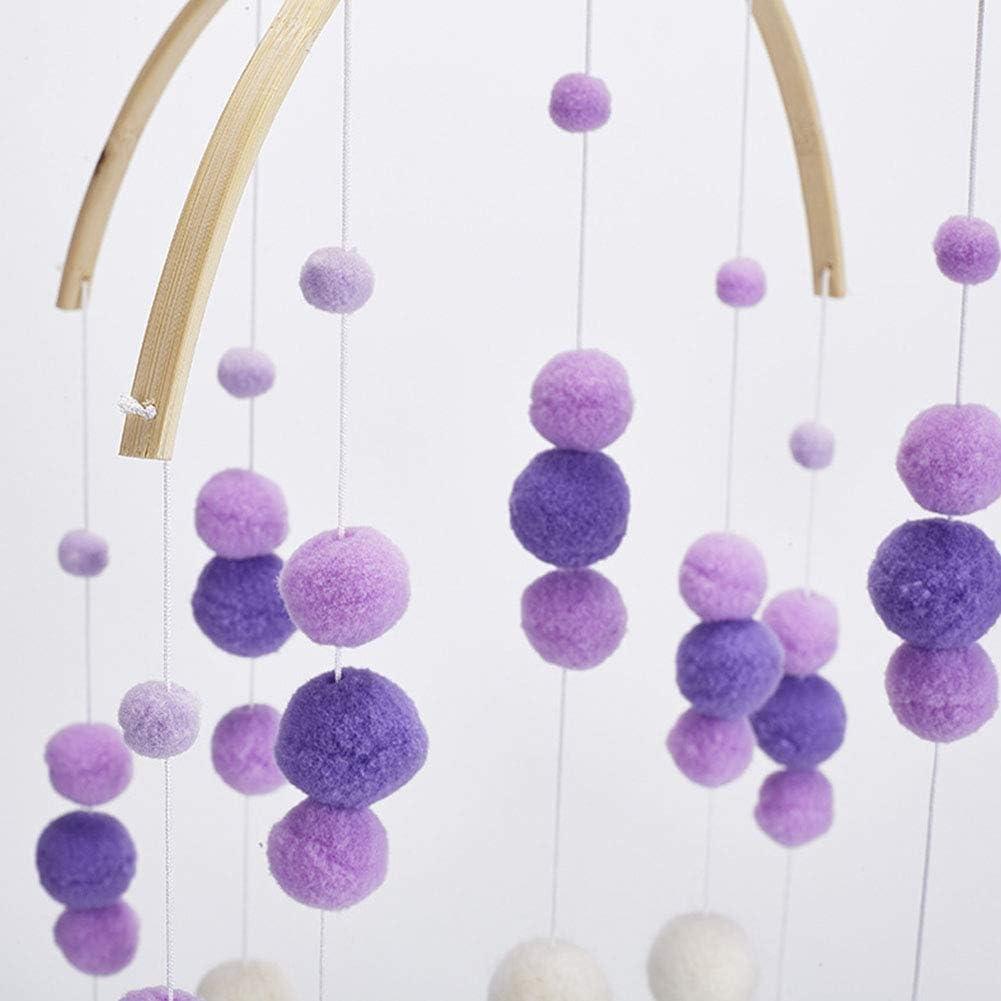 Filz Ball Mobile Kinderzimmer Decke Mobile Wind Chimes Bett Glocke Babyrassel Spielzeug H/ängende Ornamente f/ür Ihr Junge oder M/ädchen Babys Bett Zimmer Babywiege Mobile Pink