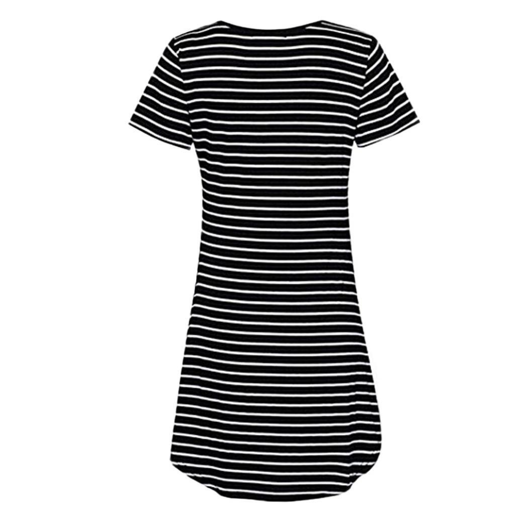 1b372df6924e4a Kleid mini Damen Kolylong T-Shirt Frauen mit Rundhalsausschnitt Striped  Minikleid  Amazon.de  Bekleidung