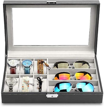 Caja Relojes,Caja de Almacenamiento para Gafas y Relojes de 9 Compartimentos Reloj de Cuero para 6 Reloj y 3 Anteojos Organizador para Gafas con Cerradura y Tapa de Cristal, 33¡Á20¡Á8cm: Amazon.es: Hogar