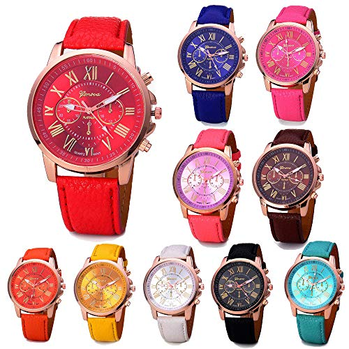 Wholesale Lot of 10 Pcs Unisex Men Women Lady Teen Girl Gold Plated Platinum Style PU Leather Round Wrist Watches