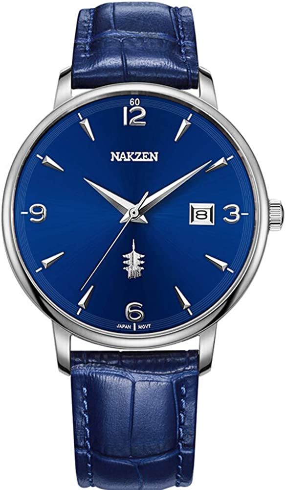 NAKZEN,Quartz Movement,Dress Watch Classic Analogue Mens Watches 30M Waterproof Date Calendar Wristwatches Men Leather Strap Stainless Case Blue
