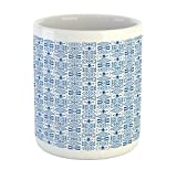 Lunarable Portuguese Mug, Vintage Azulejo Tile Motifs Fleur De Lis Flowers and Victorian Swirls, Printed Ceramic Coffee Mug Water Tea Drinks Cup, Night Blue and White