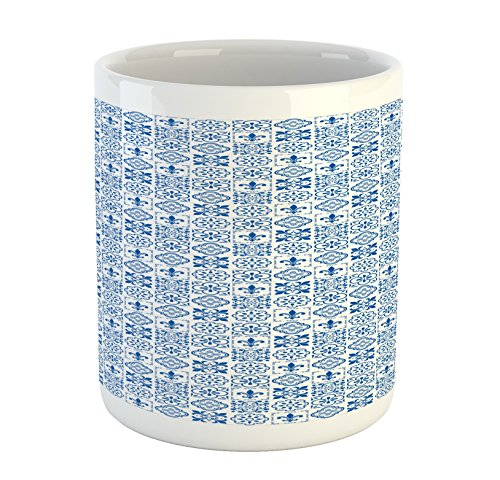 Lunarable Portuguese Mug, Vintage Azulejo Tile Motifs Fleur De Lis Flowers Victorian Swirls, Printed Ceramic Coffee Mug Water Tea Drinks Cup, Night Blue ()