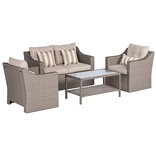 SOLAURA Outdoor Patio Furniture Set 5-Piece Conversation Set Gray Wicker Furniture Sofa Set with Neutral Beige Olefin Fiber Cushions Sophisticated Glass Coffee Table