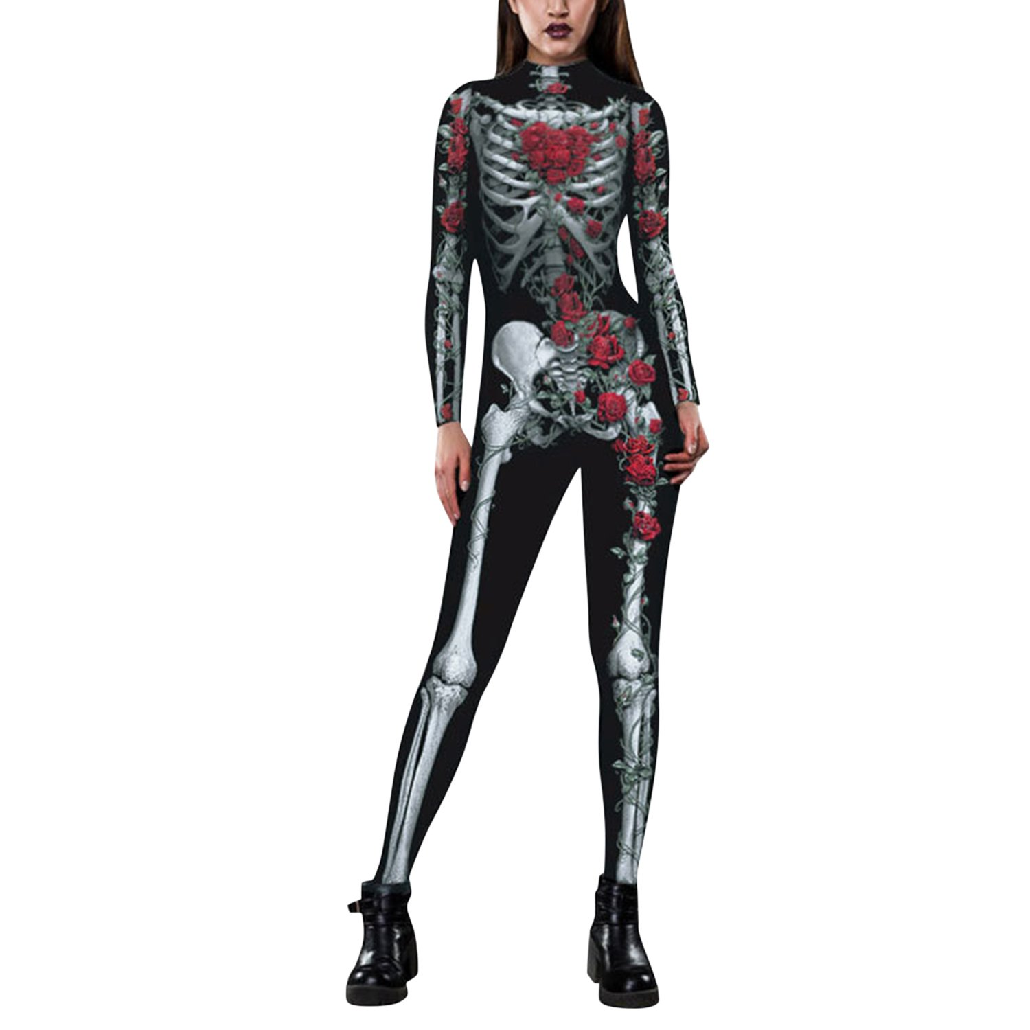 Lisli Womens Halloween Skeleton Print Catsuit Adult Onepiece Full Bodysuit Costume by Lisli