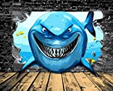 Version 3.0 HD Paint By Number Kits for Adults 3-dimension PBN Kit Paintworks Digital Diy Oil Painting Canvas Kits for Children Kids Beginner White Christmas Decorations Gifts - Big Shark (N34, No Frame)