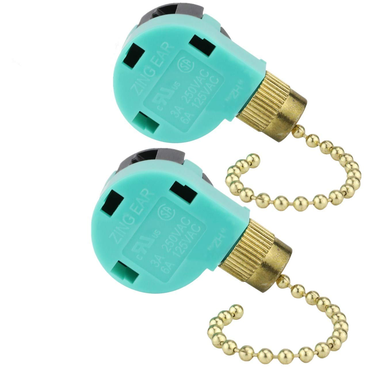 Ceiling Fan Switch ZE-268S6 Zing Ear Switch 3 Speed 4 Wire Pull Chain Control Ceiling Fan Replacement Speed Control Switch