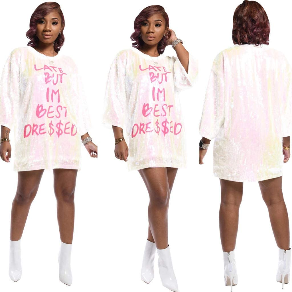 Women Late BUT IM Best Dressed Letter Print Sequin Mini Short Dresses Loose Crew Neck Party Club T-Shirt Dress