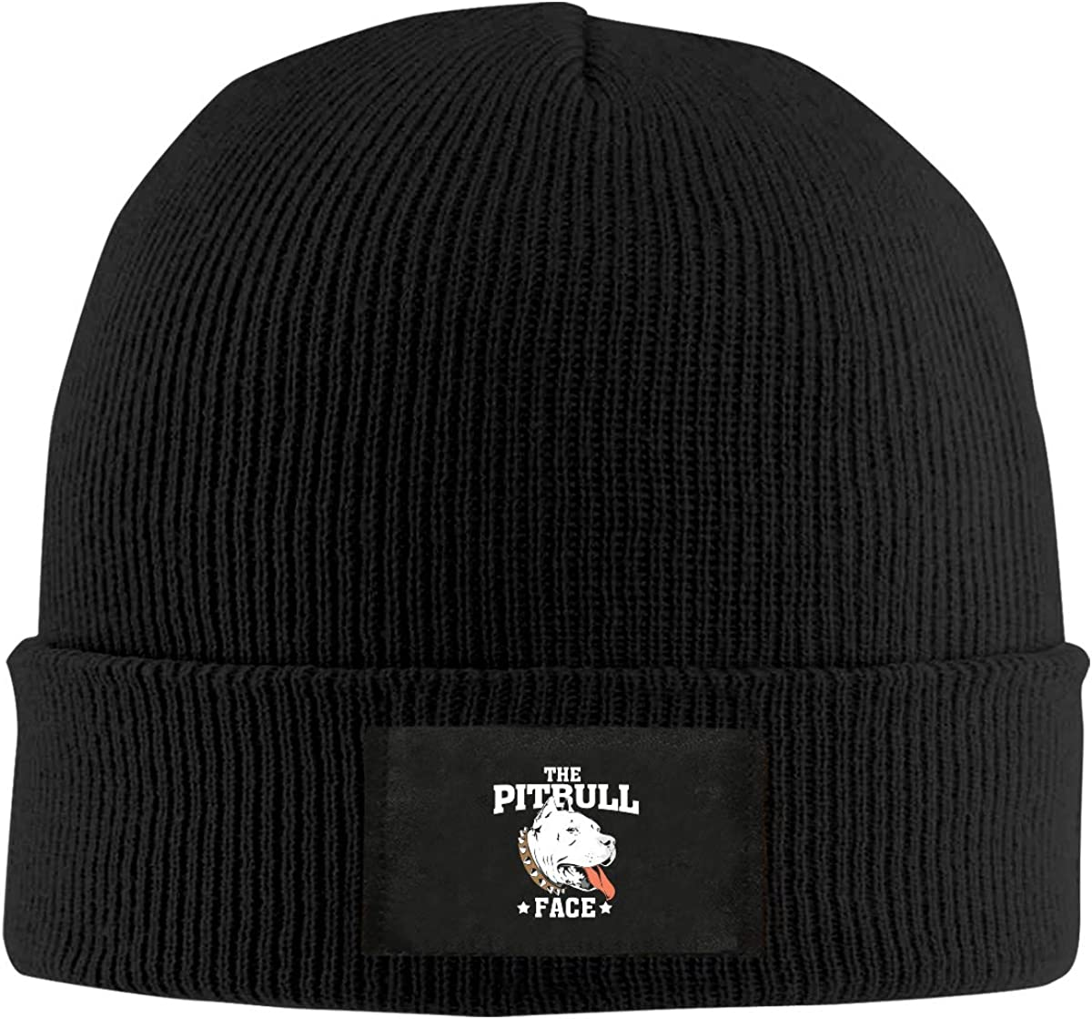 LRHUI Pitbull Face Winter Knitted Hat Warm Wool Skull Beanie Cap