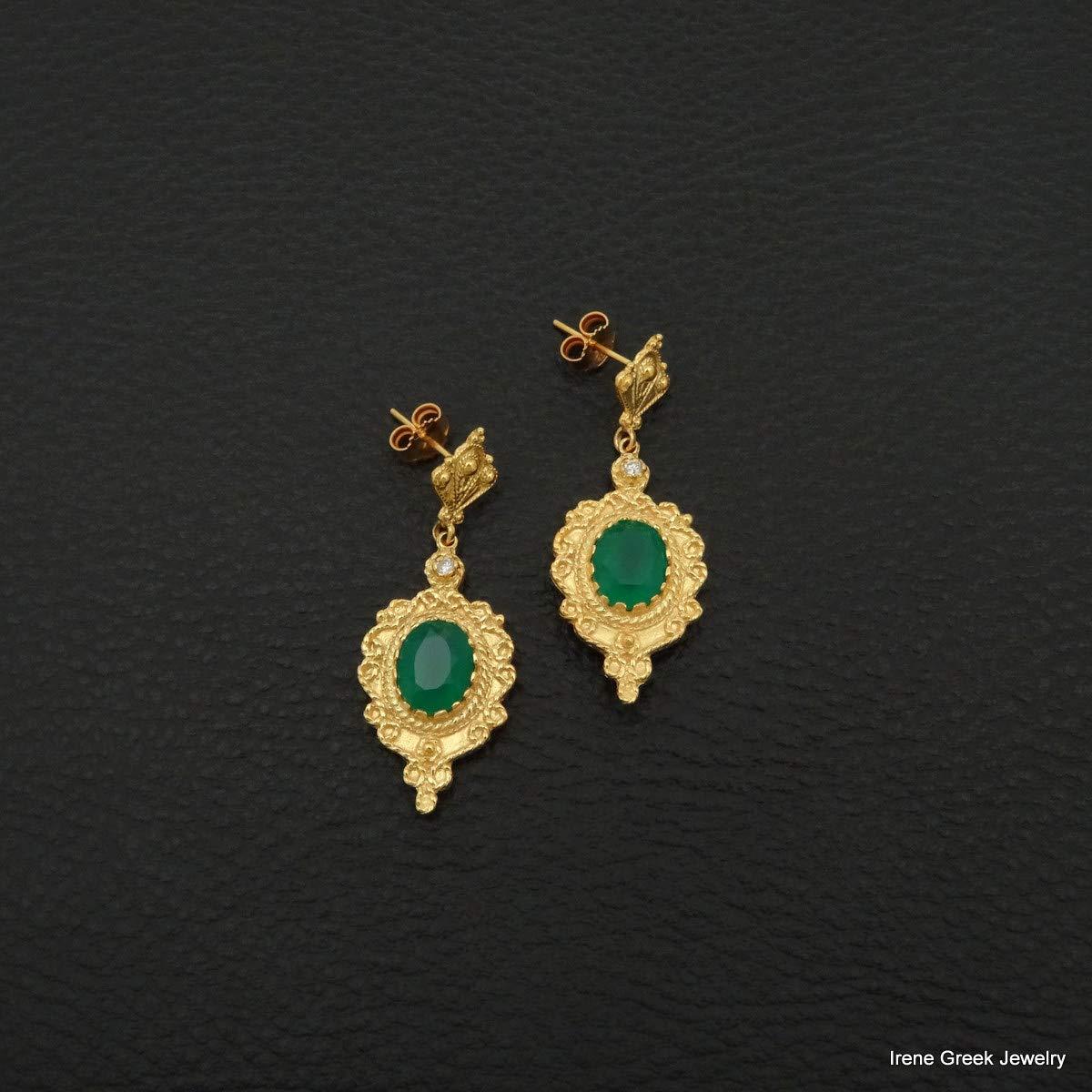 Natural Green Onyx Earrings Byzantine Style 925 Sterling Silver 22K Gold Plated Greek Handmade Art Luxury