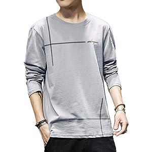 Tシャツ メンズ カットソー メンズ ロンT 長袖 カジュアル 無地 ファッション 丸襟 快適 大きいサイズ 4カラー