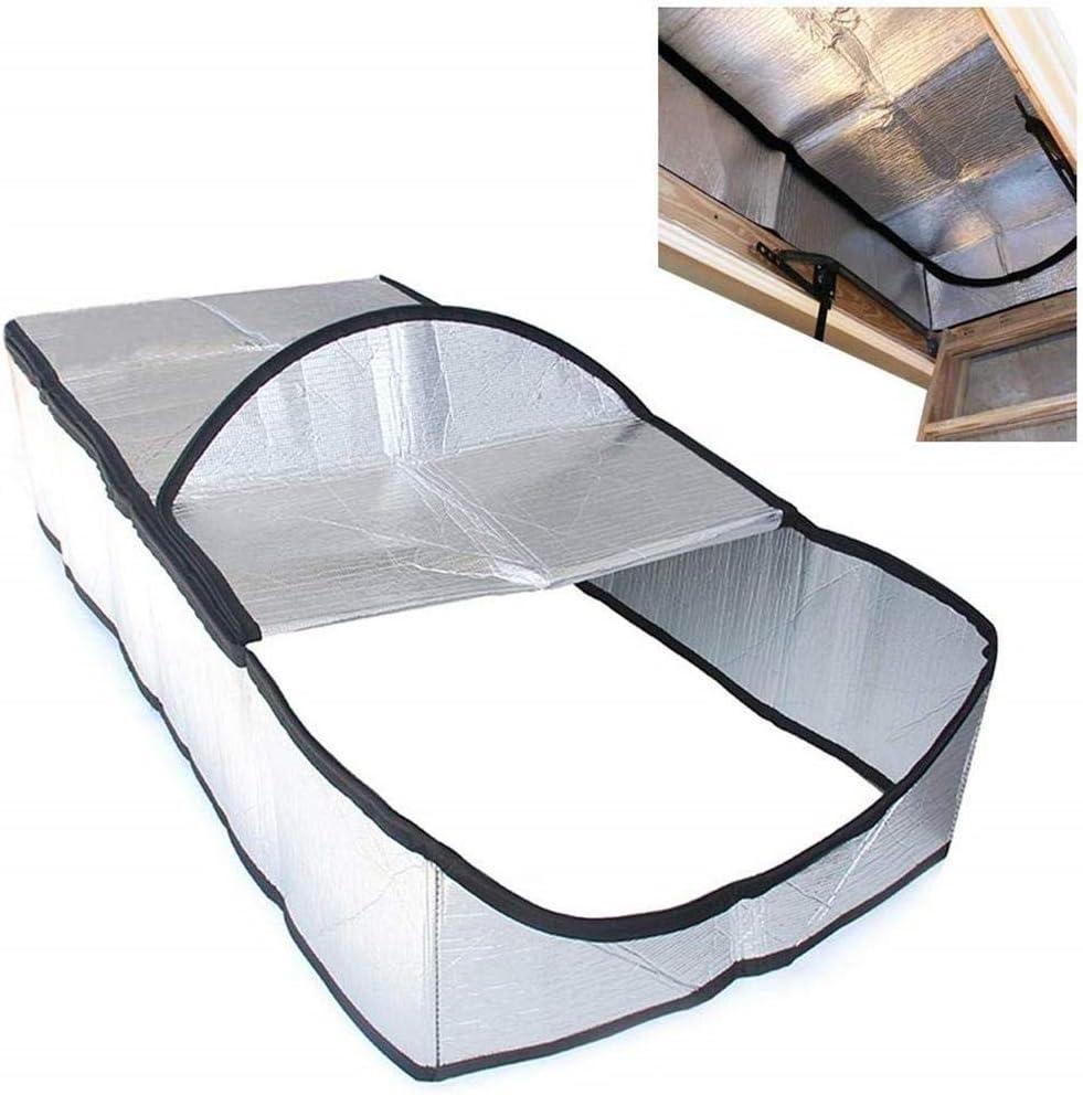 SunniY Cubierta de Escalera del ático, Tienda de Aislamiento de escaleras Kit de aislador de Puerta de Papel de Aluminio de Doble Cara con Cremallera de Acceso