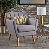 Madelyn Mid Century Modern Fabric Club Chair (Light Grey)