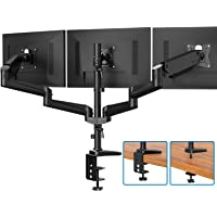 Triple Monitor Stand - Full Motion Articulating Aluminum Gas Spring Monitor Mount Fit Three 17 to 32 inch Flat/Curved LCD Computer Screens with Clamp, Grommet Kit, Black
