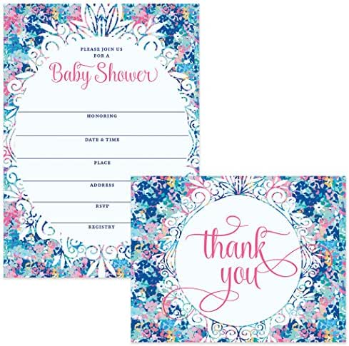 Baby Shower Set Invitations (100) & Matching Thank You Cards (100), Envelopes Included, Mommy-to-Be Celebration Large Party Write-in Guest Invites & Folded Thank You Notes Best Value Combination