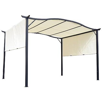 Outsunny 10u0027 X 12u0027 Steel Fabric Retractable Pergola Canopy Shade Kit    Cream White