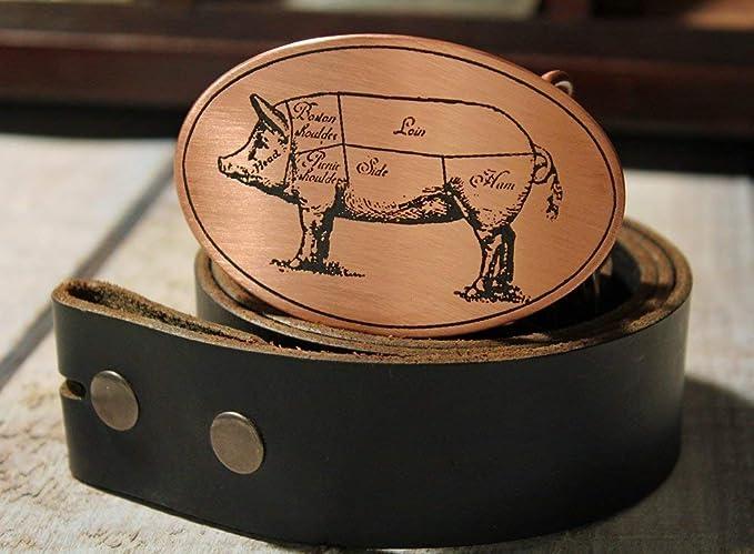 Metal Some Art Chef Pig Diagram Butcher Etched Metal Belt
