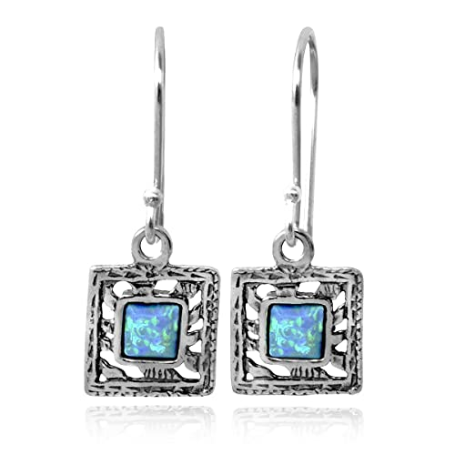 Petite 925 Sterling Silver Square Created Blue Fire Opal Earrings Vintage Style Women s Jewelry