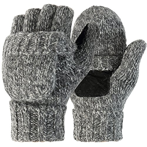 Novawo Unisex Wool Blend Crochet Convertible Fingerless Gloves with Mitten Cover (Grey XL)