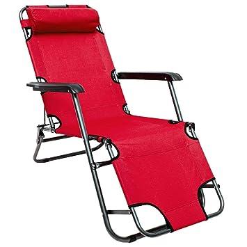 AMANKA Tumbona Plegable | Cómoda Silla de Playa 153 cm + Reposacabezas + Reposapiernas + Respaldo Reclinable | Rojo