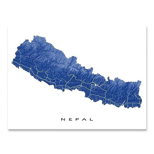 Amazon.com: Nepal Map Print, Kathmandu Art, Mount Everest Poster ...