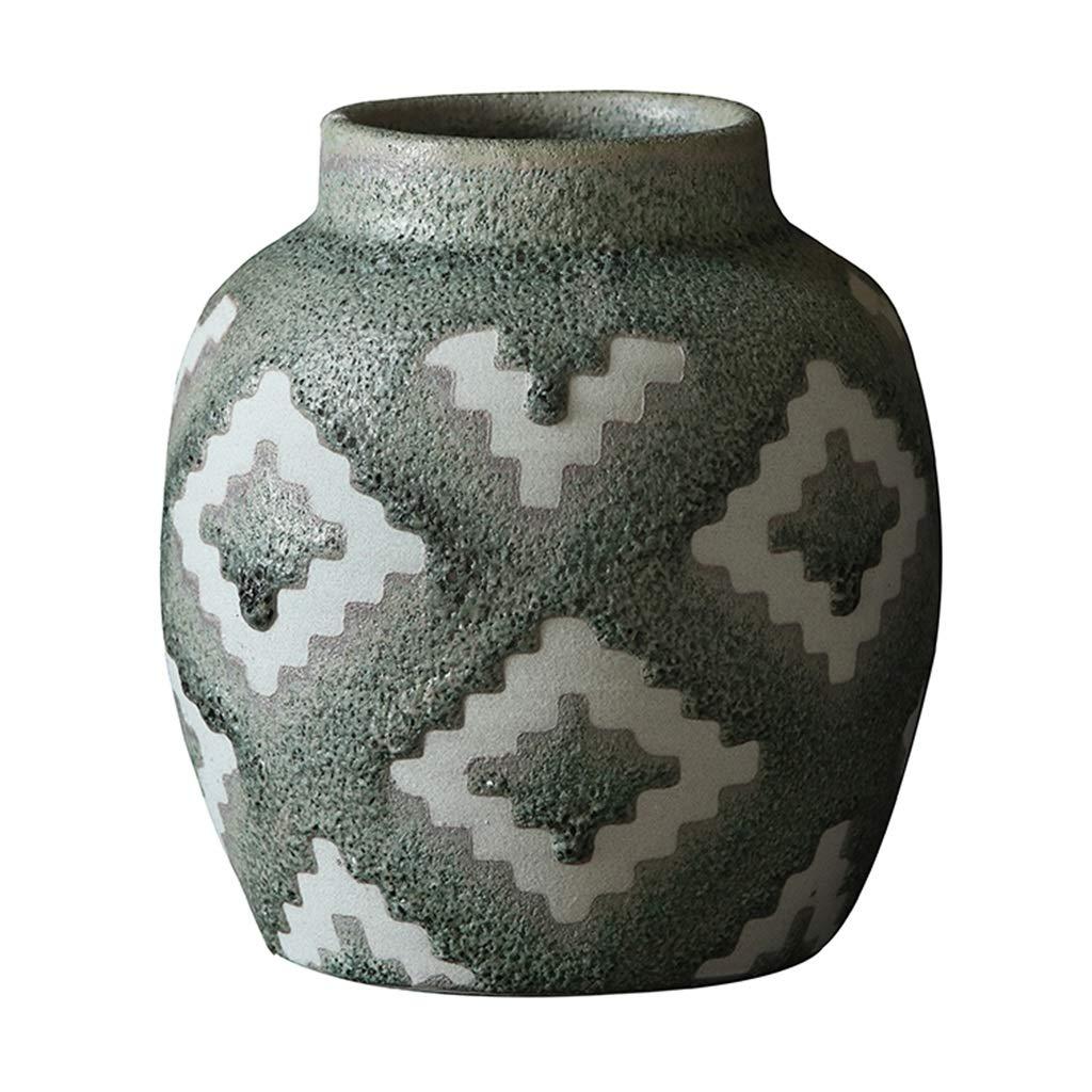 フラワーベース花器 花瓶ホームベッドルームスタディデコレーションベッドルームデコレーションセラミックフラワーコンテナダークインサート花瓶セラミックレトロスタイル (Color : Green, Size : 18*10*20.5cm) B07S9XXL9J Green 18*10*20.5cm