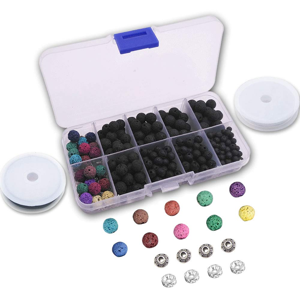 Lava Bead Kit, 400 Black Colored Lava Rock Stone Bead Diffuser Balls Kit Set for Essential Oil Jewelry Making by Afantti