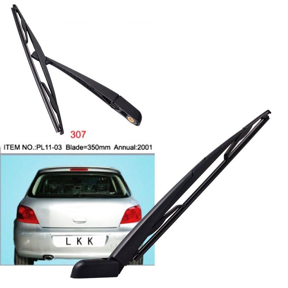 Ventana trasera de reemplazo WINOMO brazo del limpiaparabrisas hoja Set para Peugeot 307 (negro): Amazon.es: Coche y moto