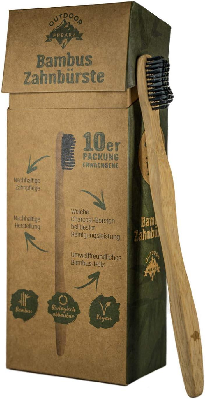 Cepillo de dientes de bambú Outdoor Freakz (10 cepillos para adulto: 5 tortugas y 5 pájaros): Amazon.es: Salud y cuidado personal