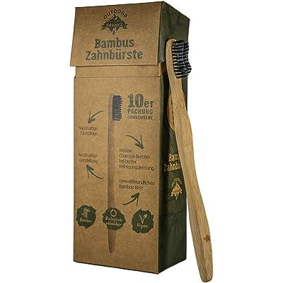 Cepillo de dientes de bambú Outdoor Freakz (10 cepillos para adulto: 5 tortugas y 5 pájaros)