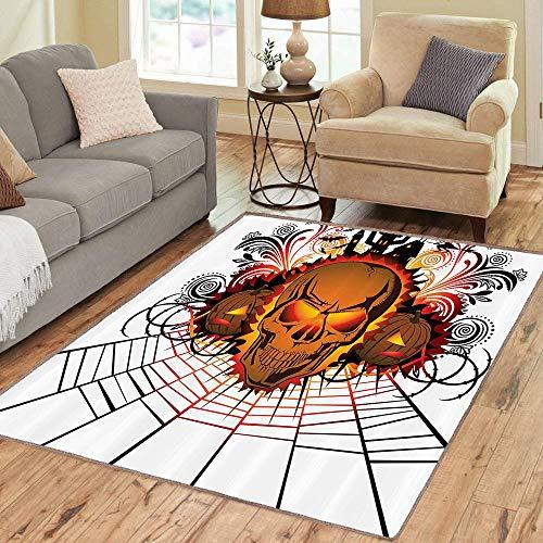Rug,FloorMatRug,Halloween,AreaRug,Angry Skull Face on Bonfire Spirits of Other World Concept Bats Spider Web Design,Home mat 2'x3' Brown,RubberNonSlip,Indoor, FrontDoor, KitchenandLivingRoom, -