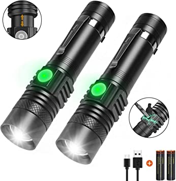 T6+COB 4-Modes Flashlight USB Rechargeable LED Torch 18650 Bright Light Outdoor