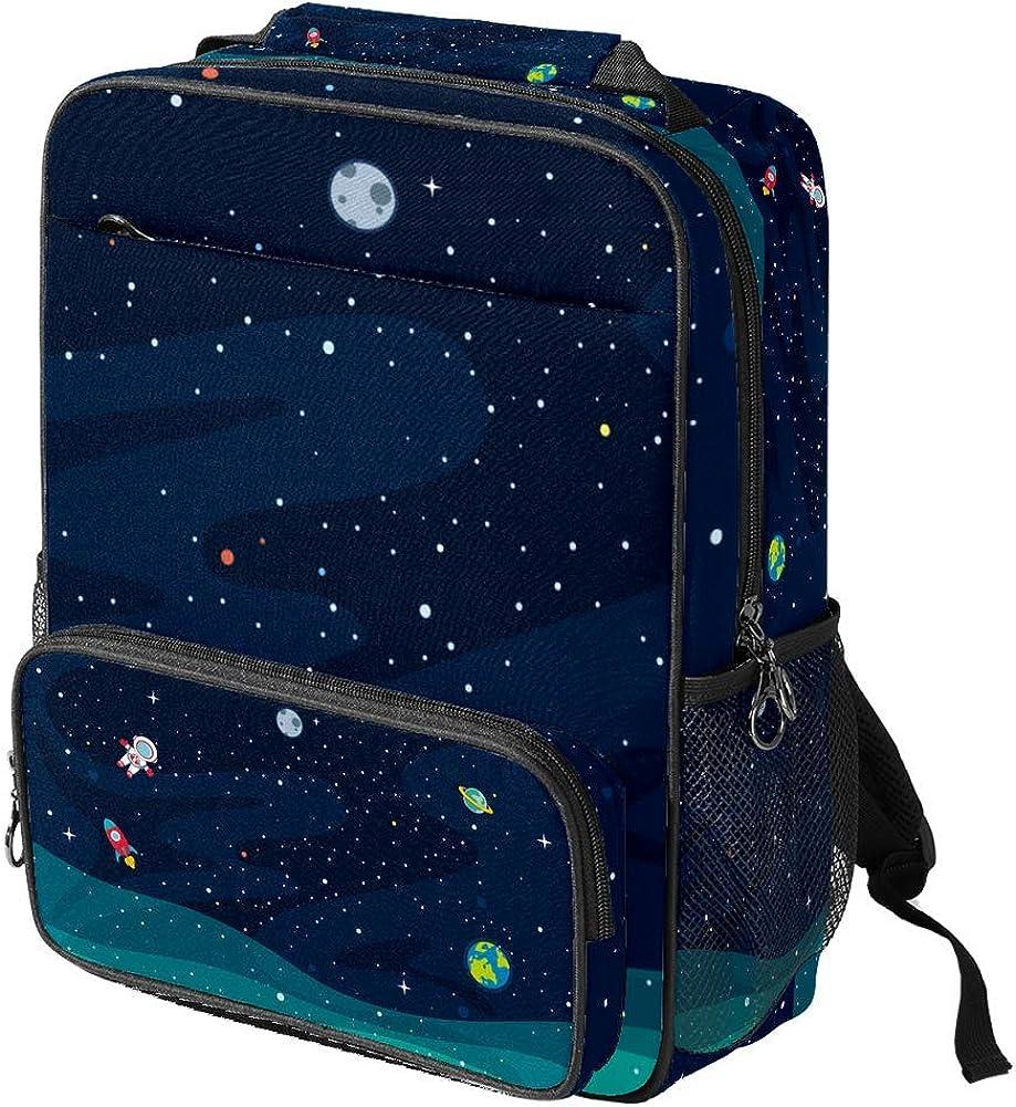 Cartoon Space Pattern School Backpack Laptop Backpacks Casual Bookbags Daypack for Kids Girls Boys and Women