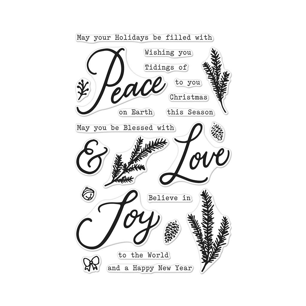 Hero Arts CM309 Peace Love and Joy Unmounted Clear Rubber Stamp Set