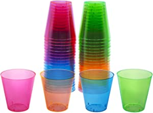 Party Essentials Hard Plastic 2-Ounce Shot/Shooter Glasses, 80-Count, Multi Neon