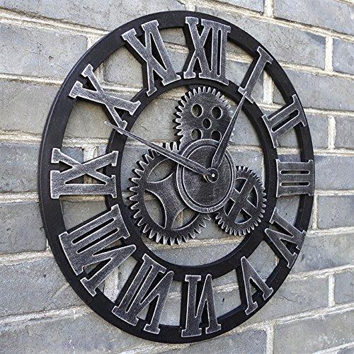 AODISHA ギアハンギングクロック、ヴィンテージリビングルームウォールクロック木製ウォールクロックホームバー装飾壁時計直径48-58CM より多くの装飾を取る (色 : D, サイズ さいず : 45×45 cm 45×45 cm) B07DZYGFJ4 45×45 cm 45×45 cm|D D 45×45 cm 45×45 cm