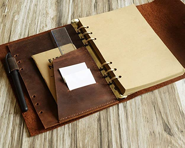 photograph regarding A5 Planner Binder identified as Customized Measurement A5 Homemade Leather-based Refillable Binder, A5 Planner, travellers Magazine, 9 X 6.8 Inch, Organic Thick Leather-based (Distressed brown)