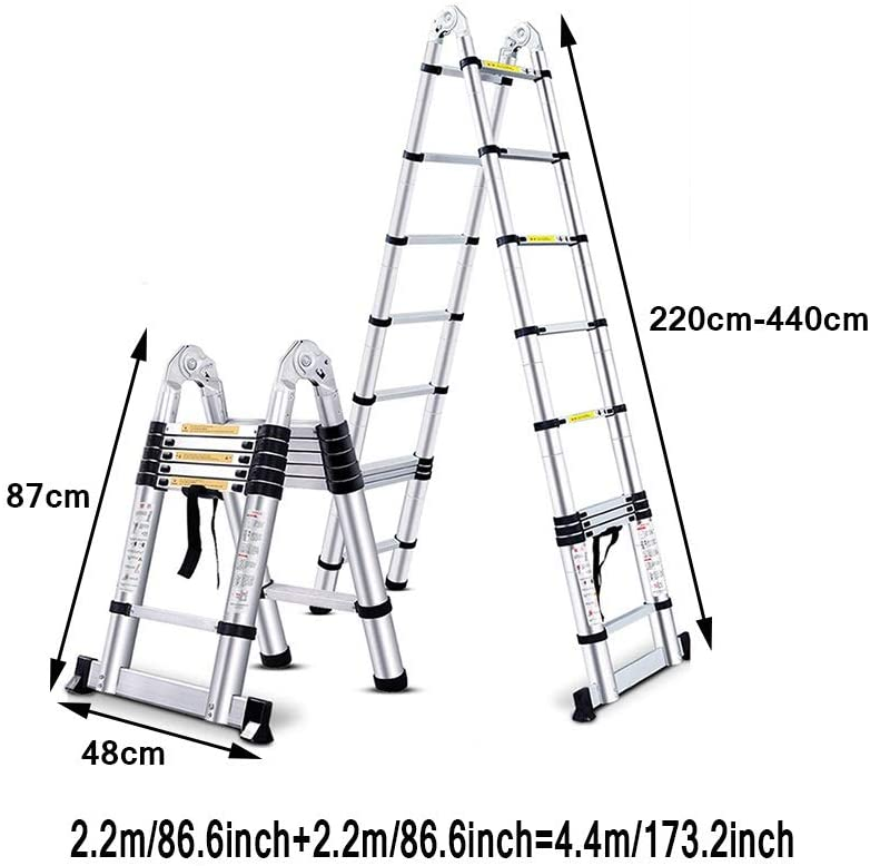 XSJZ Escalera de Extensión Multifunción, Aleación de Aluminio Plegable Plegable Pluma de Ingeniería Portátil Escalera de Extensión Multifunción Portátil Escalera Plegable (Size : 2.2m+2.2m): Amazon.es: Hogar