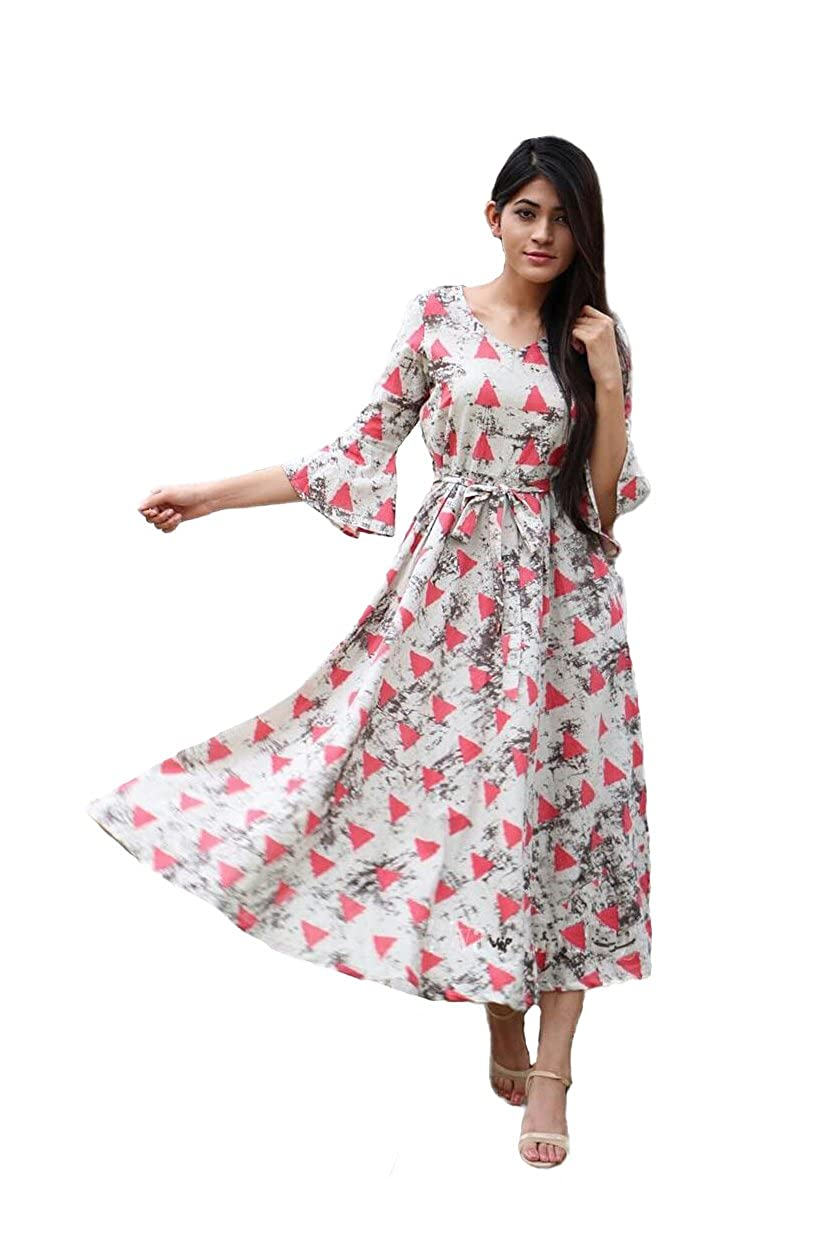 Heavy Cotton Printed Party Wear Dress