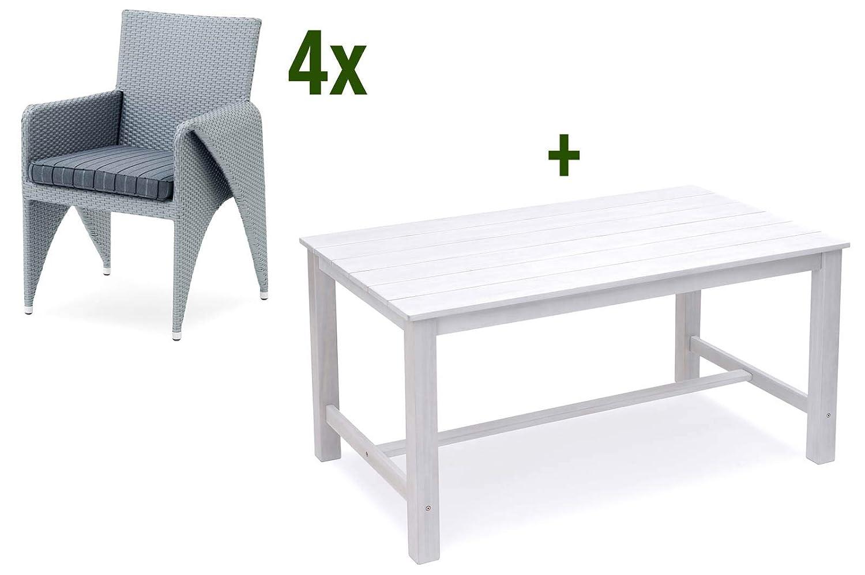 Garvida BELARDO Caniola/Sinala Sitzgruppe, Alu/GARDANTEC-Geflecht/FSC Akazienholz, 150 x 90 cm, 4 Sessel inkl. Kissen