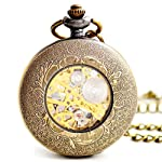 BOSHIYA Mens Vintage Skeleton Pocket Watch Steampunk Windup Half Hunter Mechanism Gear Cover with Chain 11